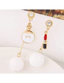 Sweet White Round&lipstick Shape Decorated Dissymmetry Earring