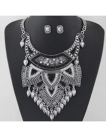 Exaggerated Silver Color+black Waterdrop Tassel Pendant Decorated Geometric Shape Jewelry Sets