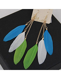 Bohemia Multi-color Feather Tassel Pendant Decorated Simple Earring