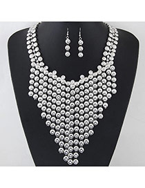 Exaggerated Silver Color Round Diamond Tassel Decorated Hollow Out Collar Necklace