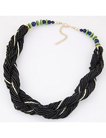 Bohemia Black Beads Twist Decorated Simple Short Necklace