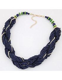 Bohemia Dark Blue Beads Twist Decorated Simple Short Necklace