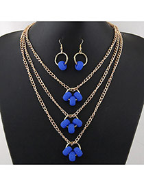 Fashion Sapphire Blue Hollow Out Round Shape Pendant Decorated Multi-layer Simple Jewelry Set