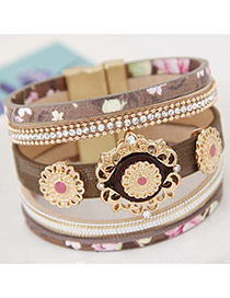 Trendy Multi-color Hollow Out Flower Decorated Multi-layer Magnetic Snap Bracelet