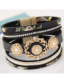 Trendy White Hollow Out Flower Decorated Multi-layer Magnetic Snap Bracelet