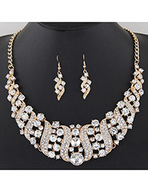 Fashion White Round Shape Diamond Decorated S Shape Simple Jewelry Sets