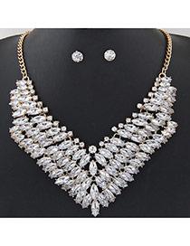 Fashion White Oval Shape Diamond Decorated Multi-layer V Shape Jewelry Sets