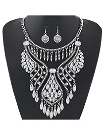 Luxury Silver Color Diamonde Decorated Tassel Chort Chain Jewelry Sets