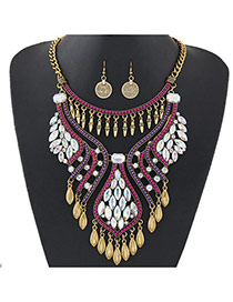 Luxury Red Color Diamonde Decorated Tassel Chort Chain Jewelry Sets