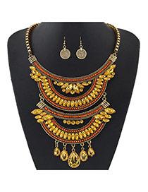 Retro Orange+gold Color Oval Diamond Decorated Multilayer Short Chain Jewelry Sets