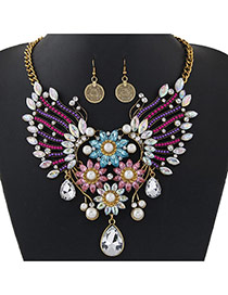 Exaggerate Multi-color Big Oval Diamond Decorated Hollow Out Short Chain Jewelry Sets