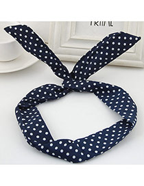 Sweet Blue Polka Dot Decorated Rabbit Ears Hair Hoop& Hair Band