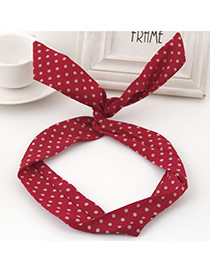 Sweet Claret-red Polka Dot Decorated Rabbit Ears Hair Hoop& Hair Band