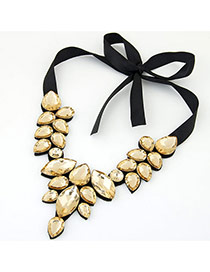 Trendy Yellow Water Drop Shape Gemstone Decorated Short Chain Necklace