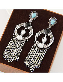 Fashion Silver Color Tassel Pendant Decorated Hollow Our Round Shape Earrings