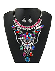 Fashion Multi-color Water Drop Shape Gemstone Pendant Decorated Simple Jewelry Sets