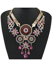 Fashion Pink Water Drop Shape Gemstone Pendant Decorated Double Layer Collar Necklace