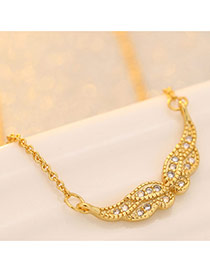 Sweet Gold Color Diamond Decorated Wings Shape Simple Necklace