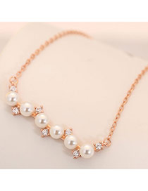 Sweet Rose Gold Pearls&diamonds Decorated Long Necklace