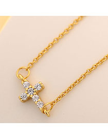 Sweet Gold Color Cross Pendant Decorated Simple Long Necklace