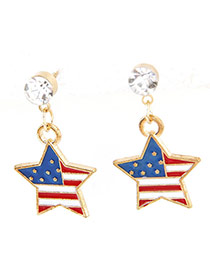 Sweet Multi-color Flag Pattern Decorated Star Shape Pendant Earrings