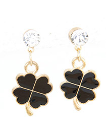 Sweet Black Clover Pendant Decorated Simple Earrings
