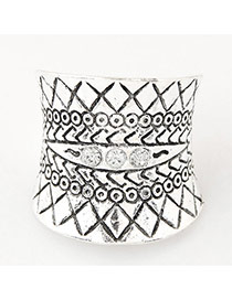 Fashion Silver Color Geometric Shape Pattern Decorated Simple Ring