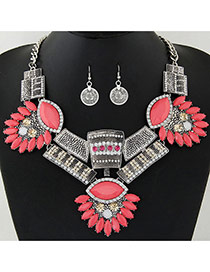 Exaggerate Silver Color Geometric Shape Gemstone Decorated Jewelry Sets