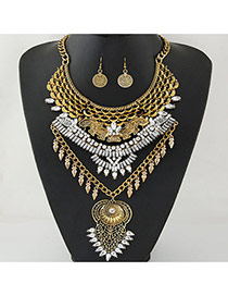 Exaggerate Gold Color Geometric Shape Diamond Decorated Hollow Out Jewelry Sets
