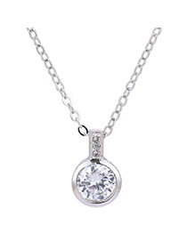 Elegant Silver Color Round Shape Diamond Pendant Decorated Simple Long Chain Necklace