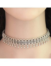 Vintage Silver Color Metal Round Shape Pendant Decorated Hollow Out Choker