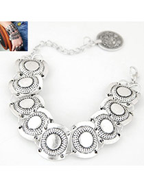 Bohemia Silver Color Round Shape Decorated Pure Color Bracelet