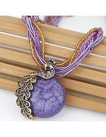 Exaggerate Purple Peacock Decorated Round Pendant Simple Necklace