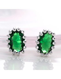 Vintage Green Big Oval Gemstone Decorated Simple Earrings