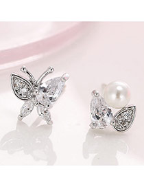 Elegant Silver Color Pearl Decorated Butterfly Design Simple Earrings