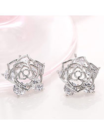 Delicate Silver Color Hollow Out Rose Design Simple Earrings