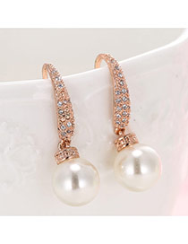 Elegant Rose Gold Big Pearl Pendant Decorated Simple Earrings