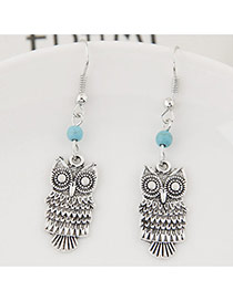 Fashion Silver Color+blue Bead& Owl Shape Pendant Decorated Simple Earring