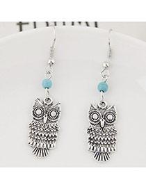 Fashion Silver Color+blue Bead& Owl Shape Pendant Decorated Simple Earring