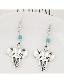 Personality Silver Color+blue Bead& Elephant Shape Pendant Decorated Simple Earring