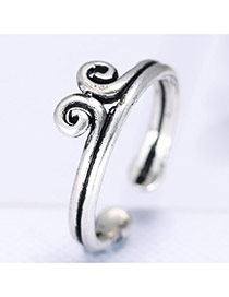 Fashion Silver Color Thai Crown Shape Decorated Simple Opening Ring