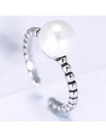 Lovely Silver Color Pearl& Thread Pattern Decorated Simple Opening Rings