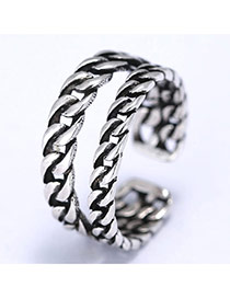 Fashion Silver Color Double Layer Chain Decorated Simple Opening Ring