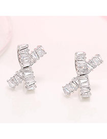 Personality Silver Color Diamond Decorated Simple Bowtie Shape Earrings