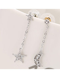 Fashion Silver Color Star& Moon Shape Decorated Simple Asymmetrical Earrings