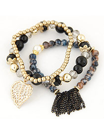 Retro Multi-color Tassel& Leaf Shape Decorated Multilayer Simple Design Bracelet