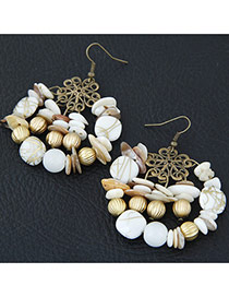 Retro Multi-color Bead Decorated Round Shape Simple Design Hollow Out Earrings