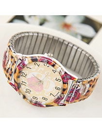 Trendy Multi-color Leopard Pattern Decorated Simple Design Ladies Watch