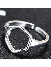 Fashion Silver Hollow Out Geometric Shape Decorated Simple Design Ring