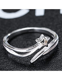 Trendy Silver Star Shape Decorated Hollow Out Simple Design Opening Ring